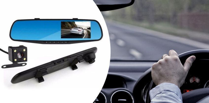 """£16.99 instead of £85 (from Hirix) for a 4.3"""" front and rear mirror dash cam, £26.99 for a dash cam with 32GB SD card - save up to 80%  from Wowcher"""