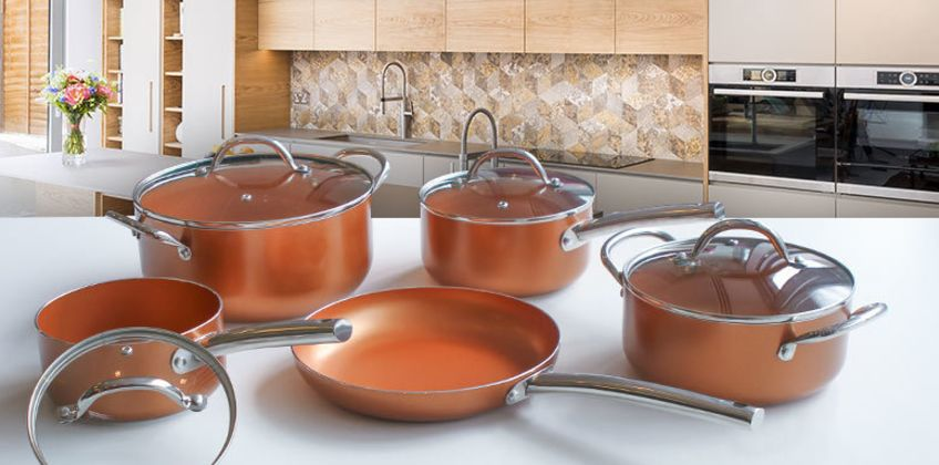 £49 instead of £119.99 (from Groundlevel) for a nine-piece ceramic copper-effect pan set, £59 for an 11-piece set - save up to 59% from Wowcher