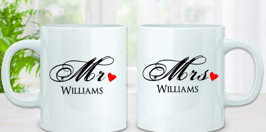 £8.99 instead of £20 (from Deco Matters) for a personalised Mr and Mrs Mug - save 55% from Wowcher