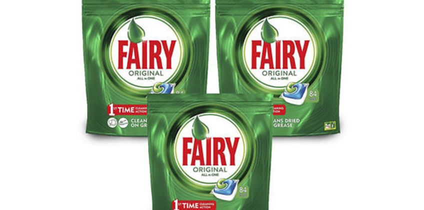 From £9.99 for a 84, 168 (£19.99) or 252 (£29.99) Fairy original all-in-one dishwasher capsules from Global Merchant Support  - save up to 71% from Wowcher