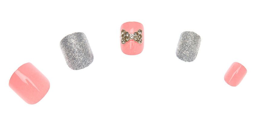 Go to Product: Glitter Gem Bow Square Press On Faux Nail Set - 24 Pack from Claires