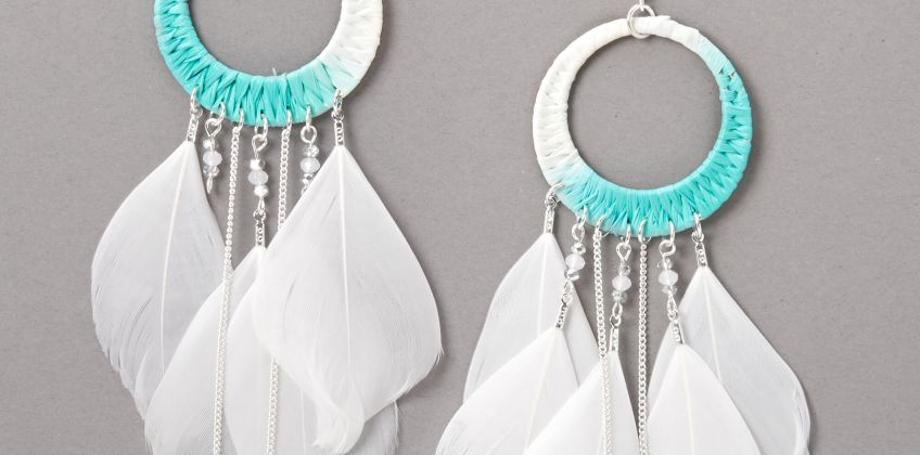 "Go to Product: Silver 5.5"" Rafia Ombre Feather Drop Earrings - Blue from Claires"