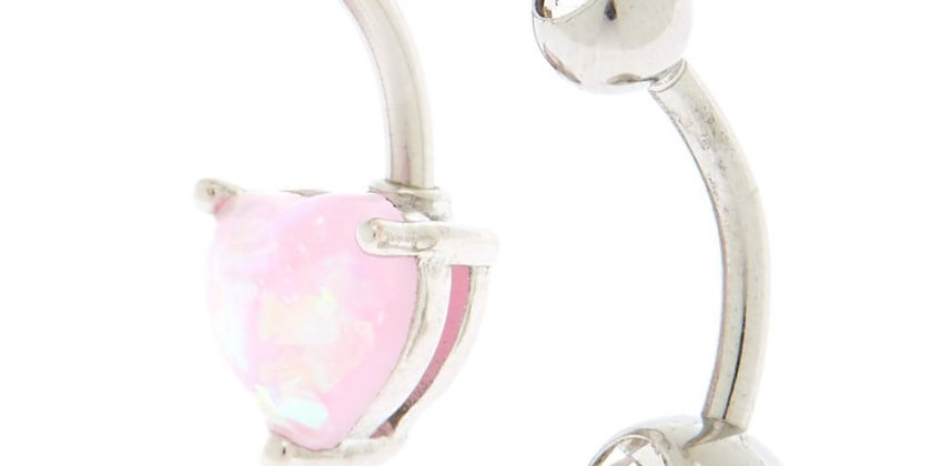 Go to Product: Silver 14G Shimmer Heart Belly Rings - 2 Pack from Claires