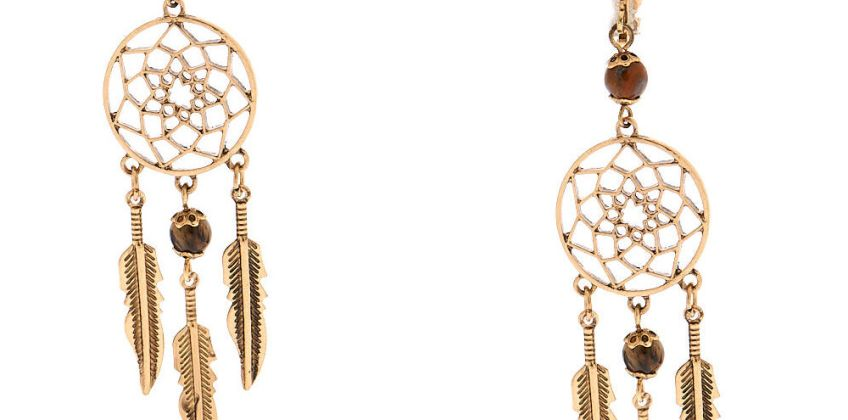 """Go to Product: Gold 3"""" Beaded Dreamcatcher Clip On Drop Earrings - Brown from Claires"""