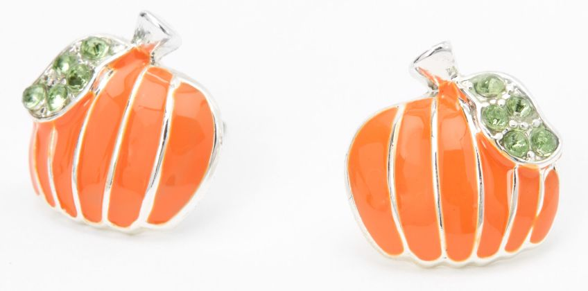 Go to Product: Silver Embellished Pumpkin Stud Earrings - Orange from Claires