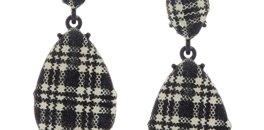 """Go to Product: 2"""" Gingham Teardrop Drop Earrings - Black from Claires"""