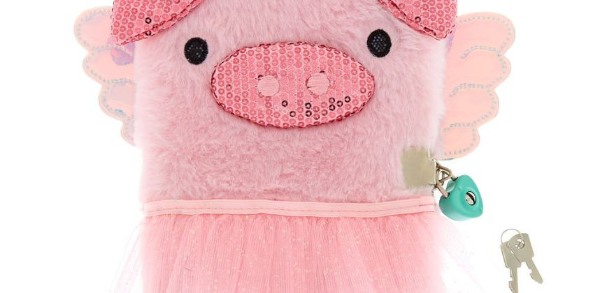 Go to Product: Poppy the Pig Soft Lock Notebook - Pink from Claires