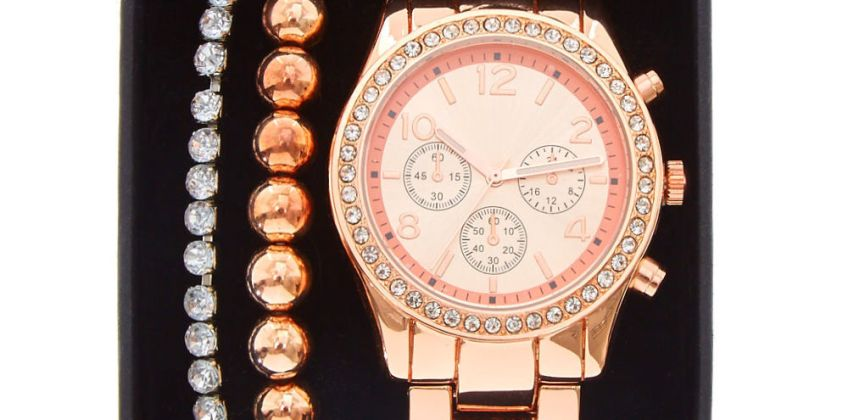 Go to Product: Rose Gold Boyfriend Watch Set - 3 Pack from Claires