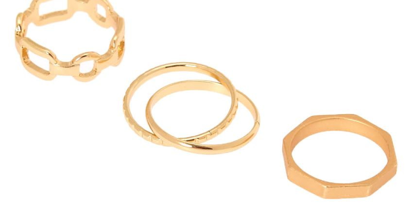 Go to Product: Gold Geometric Chain Rings - 4 Pack from Claires