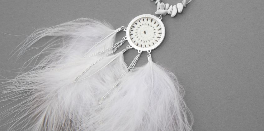 Go to Product: Silver Crochet Feather Long Pendant Necklace - White from Claires