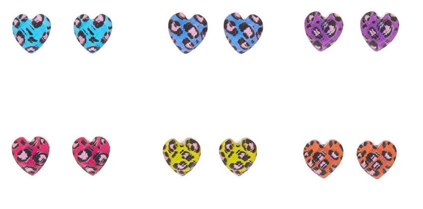 Go to Product: Rainbow Leopard Heart Stud Earrings - 6 Pack from Claires