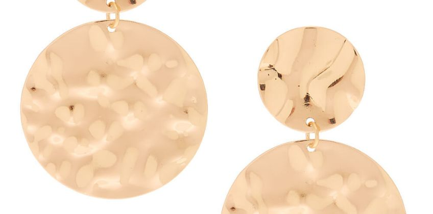 """Go to Product: Gold 2"""" Circle Hammered Drop Earrings from Claires"""