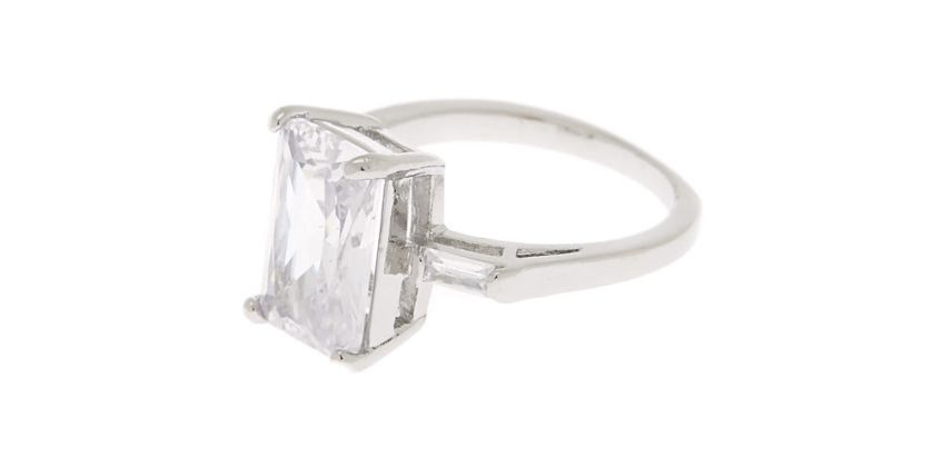 Go to Product: Silver Emerald Cut Cubic Zirconia Ring from Claires