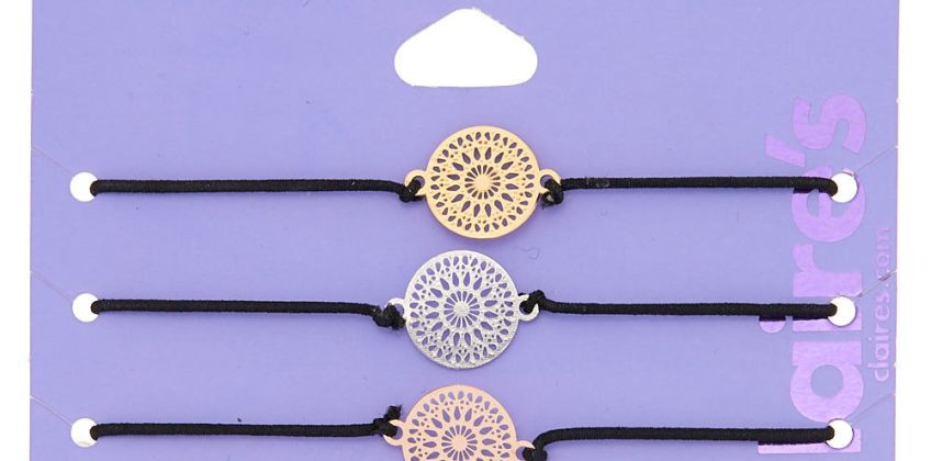 Go to Product: Mixed Metal Filigree Disc Stretch Bracelets - 3 Pack from Claires