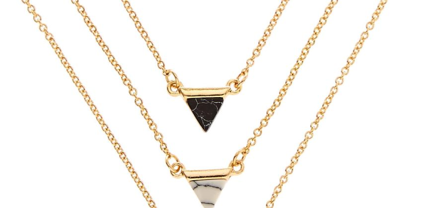 Go to Product: 3 Pack Gold Tone Marble Triangle Necklaces from Claires
