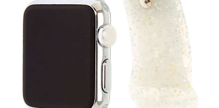 Go to Product: Silver Glitter Silicone Smart Watch Band - Fits 38MM/40MM Apple Watch from Claires