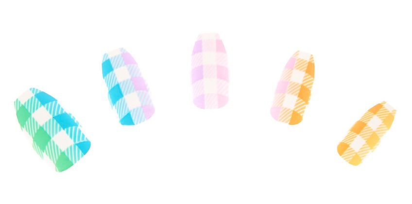 Go to Product: Pastel Plaid Coffin Faux Nail Set - 24 Pack from Claires
