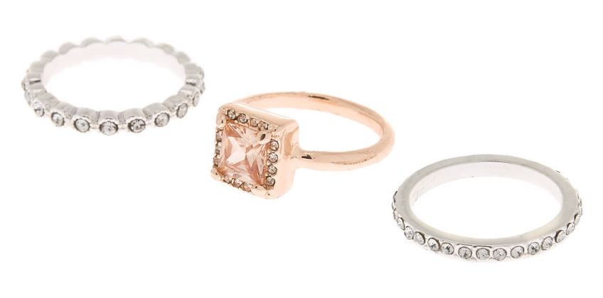 Go to Product: Mixed Metal Cubic Zirconia Rings - 3 Pack from Claires