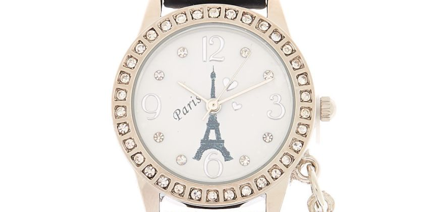Go to Product: Silver Paris Charm Rubber Watch - Black from Claires