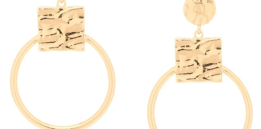 "Go to Product: Gold 2.5"" Geometric Drop Earrings from Claires"