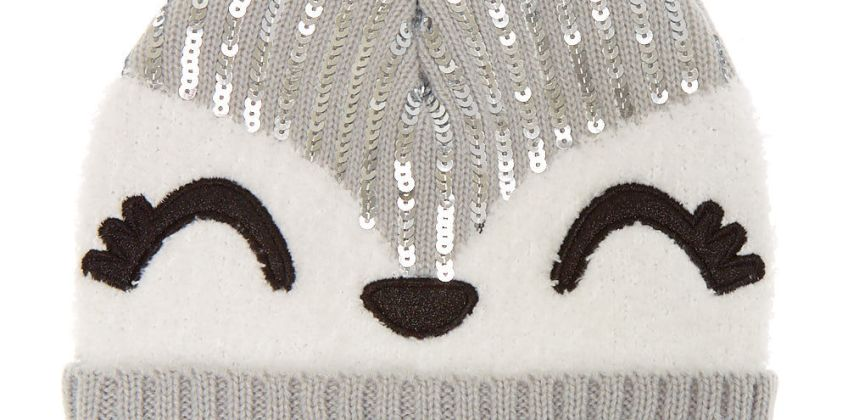 Go to Product: Trixie the Fox Sequin Beanie - Grey from Claires