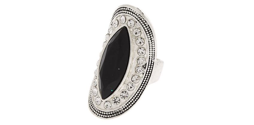 Go to Product: Silver Embellished Oval Ring - Black from Claires