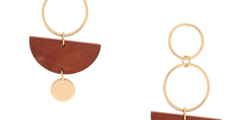 """Go to Product: Gold 2"""" Geometric Wooden Drop Earrings - Brown from Claires"""