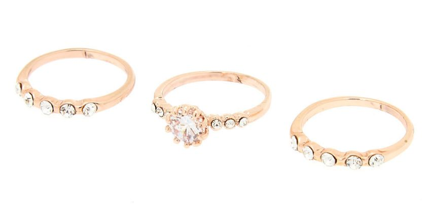 Go to Product: Rose Gold Cubic Zirconia Rings - 3 Pack from Claires