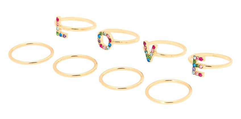 Go to Product: Gold Rainbow Love Ring Set - 8 Pack from Claires