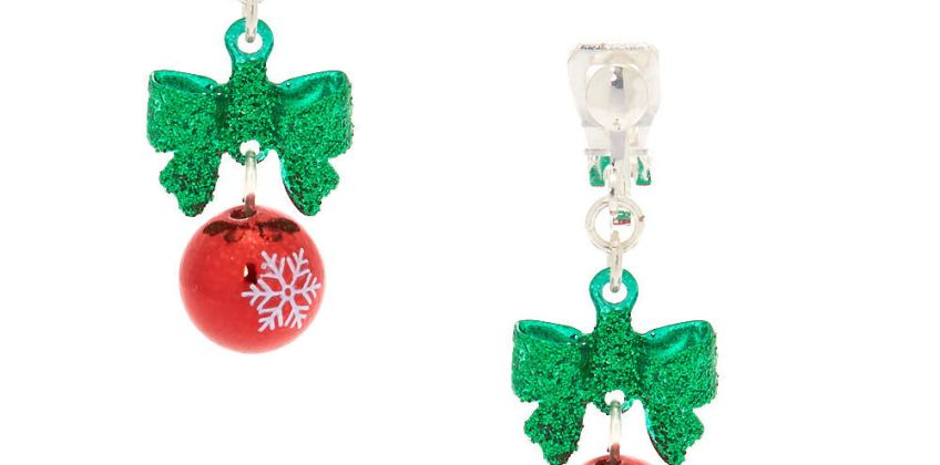 "Go to Product: 1"" Holiday Bells Clip On Drop Earrings from Claires"