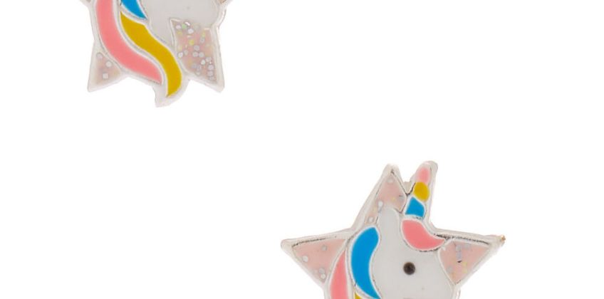 Go to Product: Sterling Silver Unicorn Star Stud Earrings from Claires