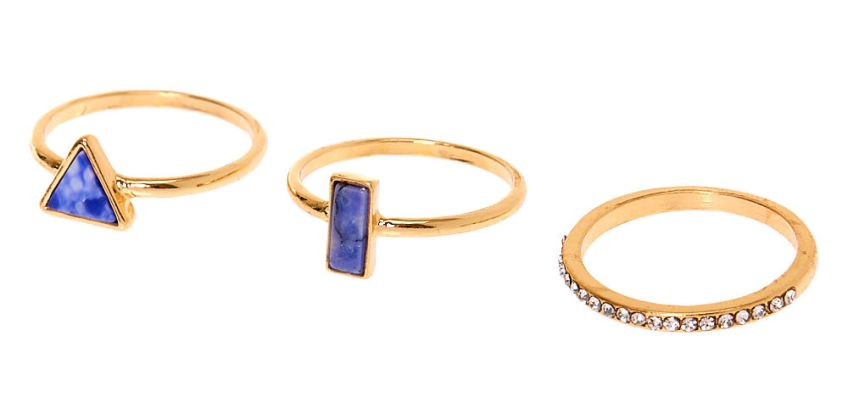 Go to Product: Gold Geometric Marble Stone Rings - Blue, 3 Pack from Claires