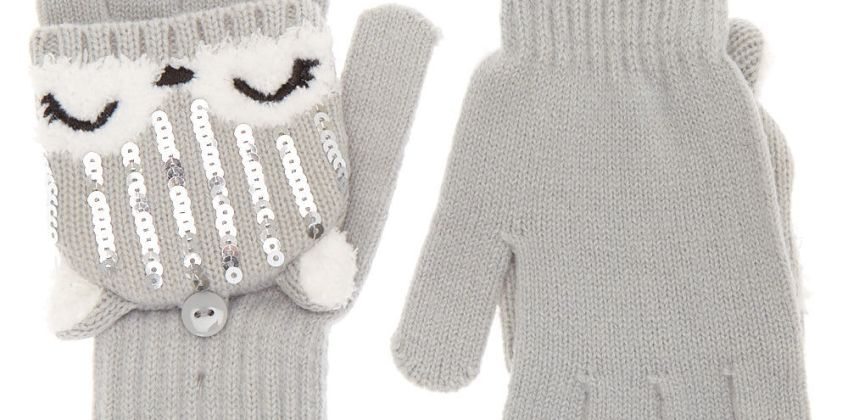 Go to Product: Trixie the Fox Fingerless Gloves With Mitten Flap - Grey from Claires
