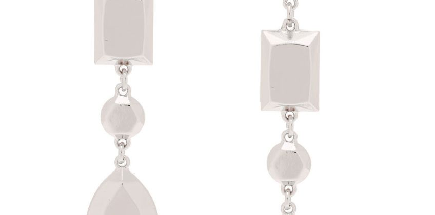 """Go to Product: Silver 3"""" Metallic Shape Drop Earrings from Claires"""