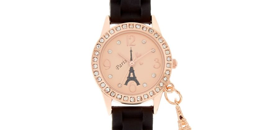 Go to Product: Rose Gold Paris Rubber Watch - Black from Claires