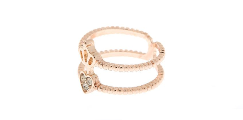 Go to Product: Rose Gold Double Heart Crown Ring from Claires