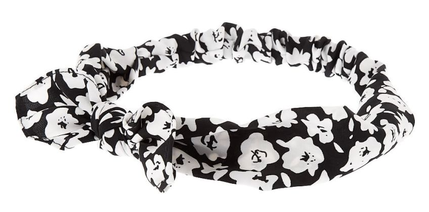 Go to Product: Floral Poppy Knotted Bow Headwrap - Black from Claires