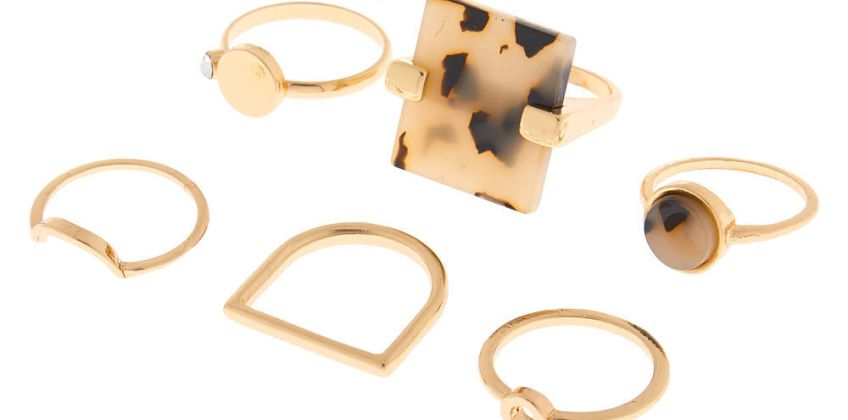 Go to Product: Gold Resin Tortoiseshell Rings - 6 Pack from Claires