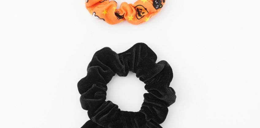 Go to Product: Small Spooky Icon & Black Velvet Knotted Bow Hair Scrunchies - 2 Pack from Claires