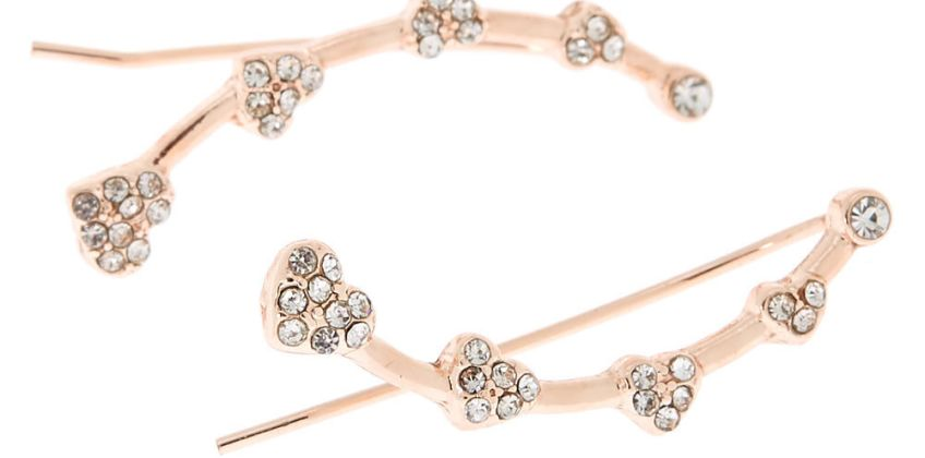 """Go to Product: Rose Gold 1"""" Crystal Heart Ear Crawler Earrings from Claires"""