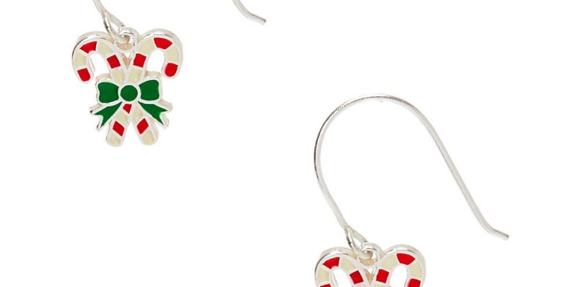 "Go to Product: Sterling Silver 0.5"" Candy Cane Drop Earrings from Claires"