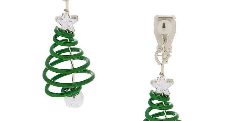 """Go to Product: 1"""" Spiral Christmas Tree Clip On Drop Earrings - Green from Claires"""