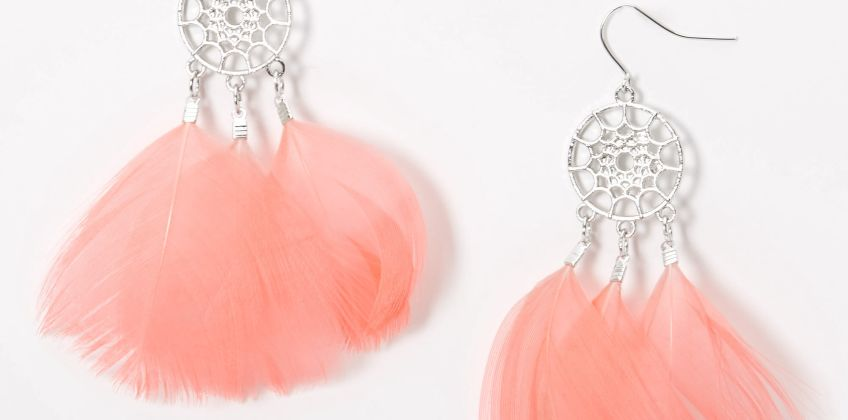 "Go to Product: Silver 3"" Feather Dreamcatcher Drop Earrings - Pink from Claires"