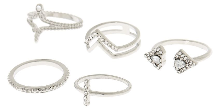 Go to Product: Silver Embellished Triangle Rings - 5 Pack from Claires