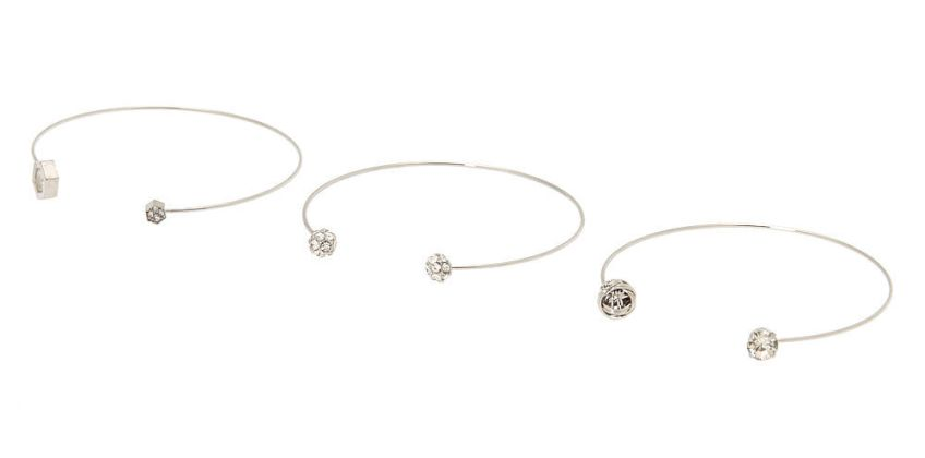 Go to Product: Silver Geometric Fireball Cuff Bracelets - 3 Pack from Claires