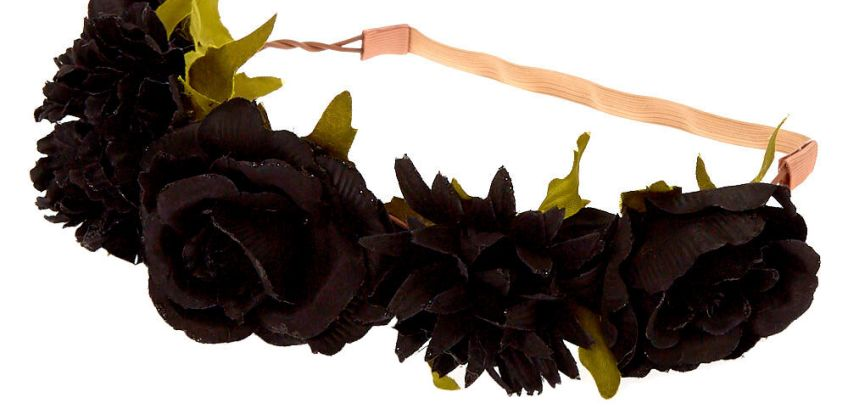 Go to Product: Glitter Rose Flower Crown Headwrap - Black from Claires