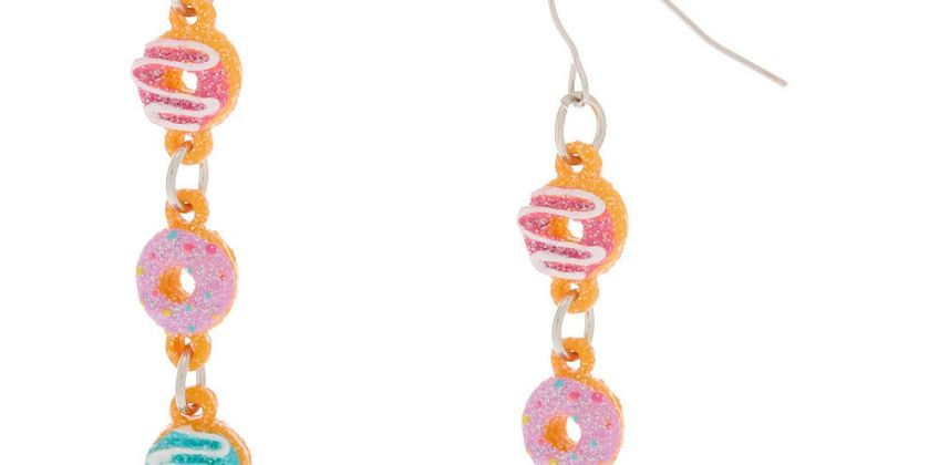 "Go to Product: Silver 2"" Glitter Donut Drop Earrings from Claires"