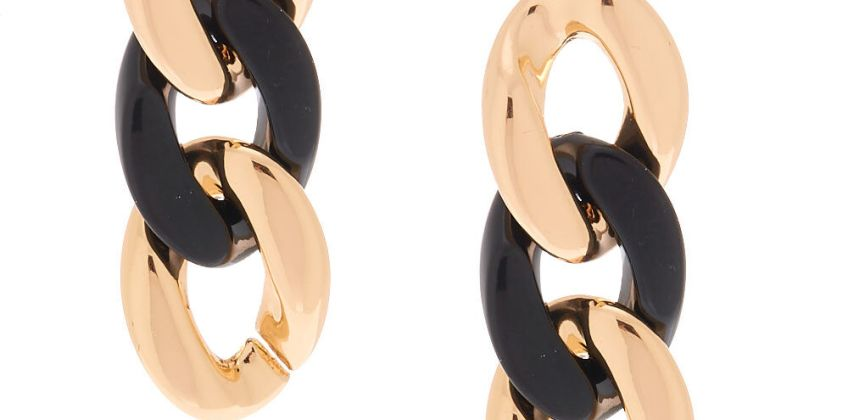 Go to Product: Gold and Black Chain Drop Earrings from Claires