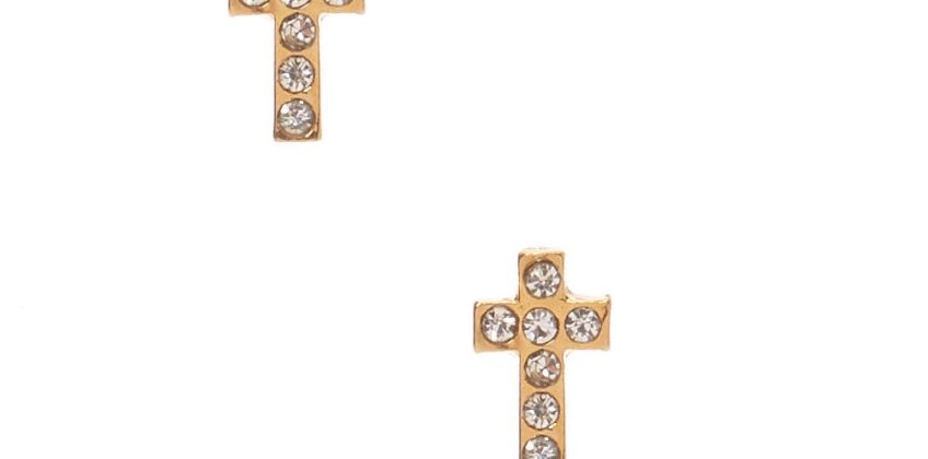 Go to Product: 18kt Gold Plated Crystal Cross Stud Earrings from Claires