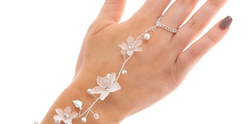Go to Product: Silver Frosted Flower Hand Chain - White from Claires